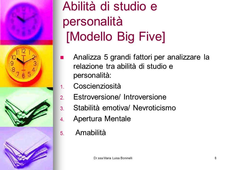 Abilità di studio e personalità [Modello Big Five]